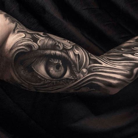 tattoo eye sleeve engraved realistic eye tattoo sleeve best tattoo ideas