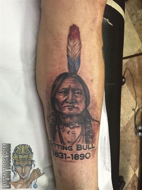 blue and pink portrait tattoo lnztattoos sitting bull american indian portrait