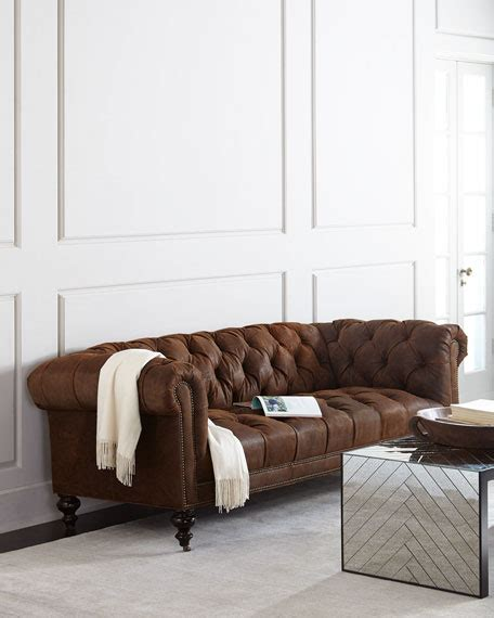 morgans chesterfield hickory tannery rustic suede chesterfield sofa