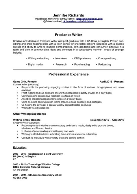 Cv Writers by Writer S Cv