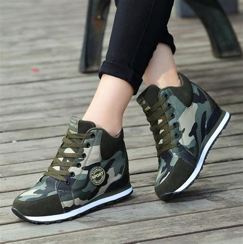 sport shoes with high heels womens camo canvas wedge heel sneakers high tops