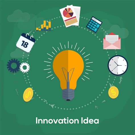 green innovation background with light bulb vector