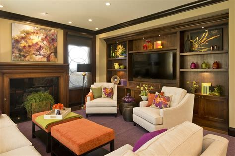 vibrant transitional family room before and after san