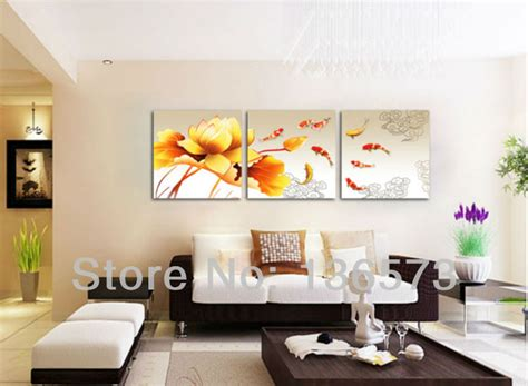 livingroom paintings handmade koi fish canvas 3 paintings yellow