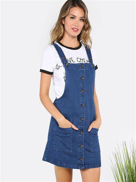Overall Dress Denim button front denim overall dress denim makemechic