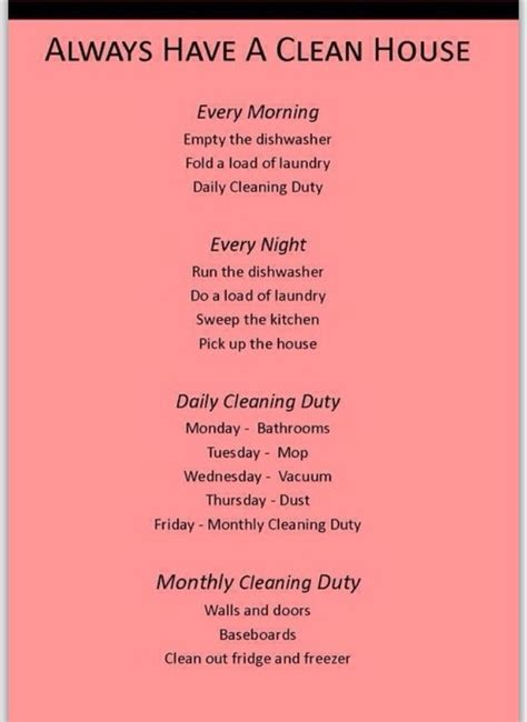 how to clean a home 17 best ideas about household cleaning schedule on