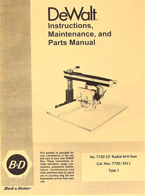 Dewalt Powershop 7730 10 Quot Radial Arm Saw Instruction