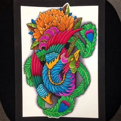 gao tattoo original art colorful work phoenix asian