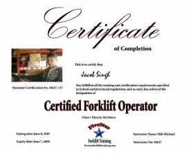 forklift certification template doc 580600 certification template sle