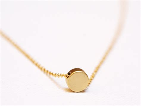 gold disc necklace tiny disc necklace dainty jewelry