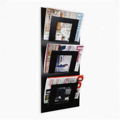 tier wall mounted metal magazine rack black