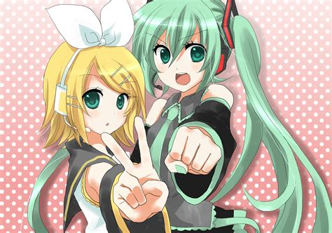 Kaos Anime Vocaloid Hatsune Miku Peace hatsune miku and rin kagamine by vocaloid redlight on deviantart