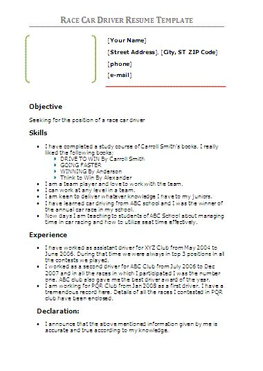 driver resume template free word s templates