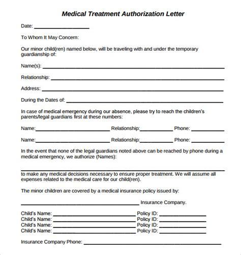 authorization letter for treatment for minor treatment authorization letters 8 free