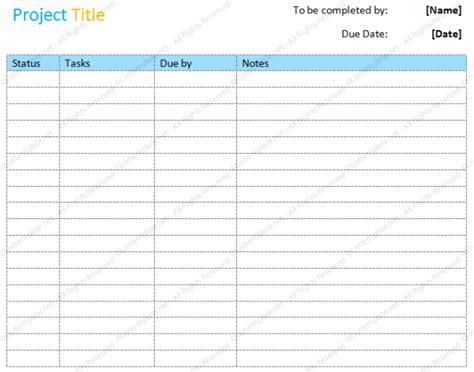 Project To Do List Format Soft Templates Project List Template
