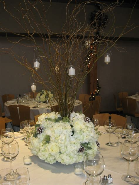 white branches for centerpieces gorgeous winter wedding centerpieces with white hydrangea white roses frosted pinecones