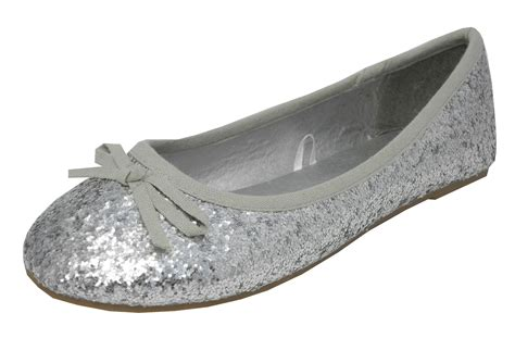 flat sparkly shoes silver sparkly glitter ballerina ballet pumps