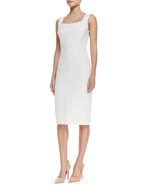 Lace Panel Cocktail Dress david meister sleeveless lace panel cocktail dress white