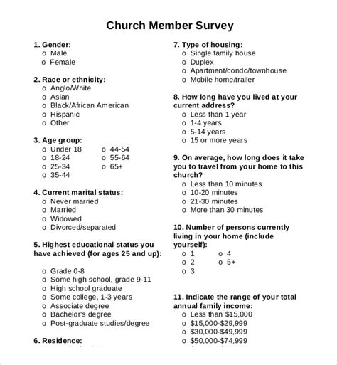 Church Survey Template 11 Free Word Pdf Documents Download Free Premium Templates Membership Surveys Templates