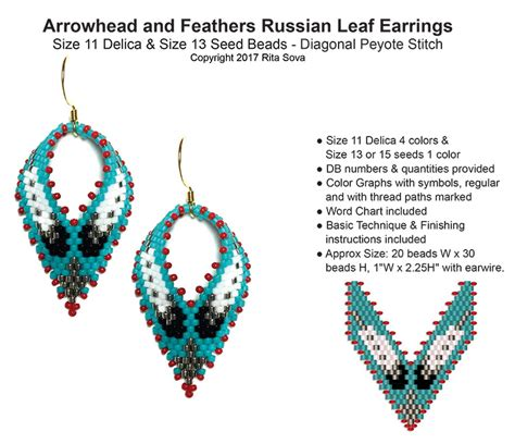 Beaded Leaf Earrings arrowhead and feathers russian leaf earrings bead patterns