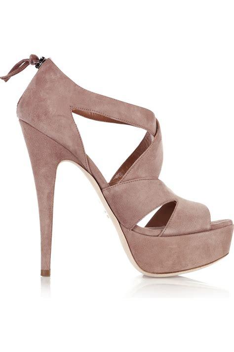 pink platform sandals miu miu suede strappy platform sandals in pink lyst