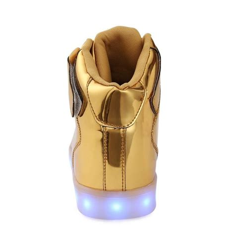 Gold Led Shoes led shoes high top gold remote
