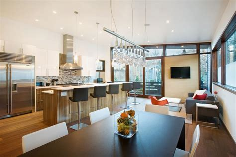 kitchen and dining room of small contemporary house in