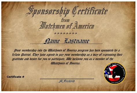 certificate of appreciation for sponsorship template sponsor a patriot