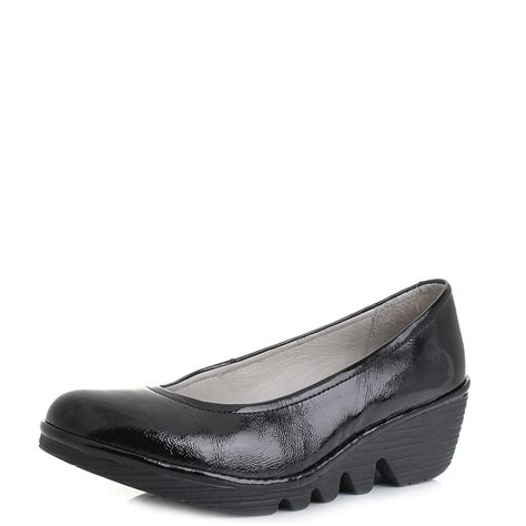 london comfort shoes womens fly london pump luxor black patent leather wedge