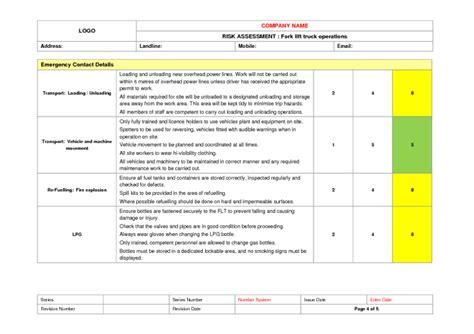 fork lift truck  risk assessment