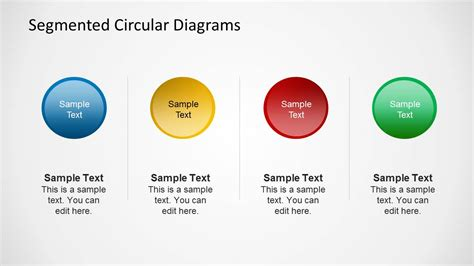 4 step segmented circular diagrams for powerpoint slidemodel