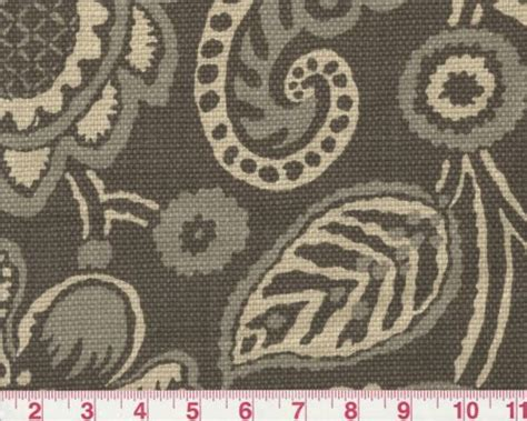 Elephant Upholstery Fabric by Jacobean Floral Gray Print By P Kaufmann Drapery
