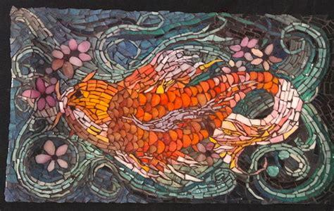 mosaic koi pattern tattoo design koi fish mosaic platter art in mosaic
