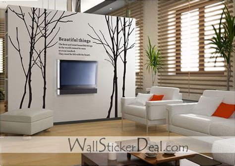 Large Size Winter Tree Wall Stickers Home Decorating How To Decorate A Wall With Pictures