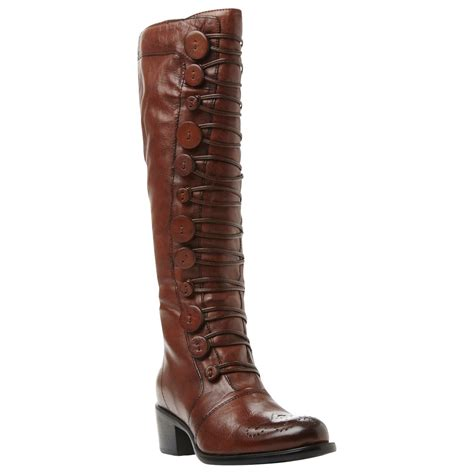 dune pixie d button detail knee high boots in brown brown