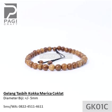 Gelang Kaukah Tasbih gelang tasbih kokka merica kecil coklat bersertifikat