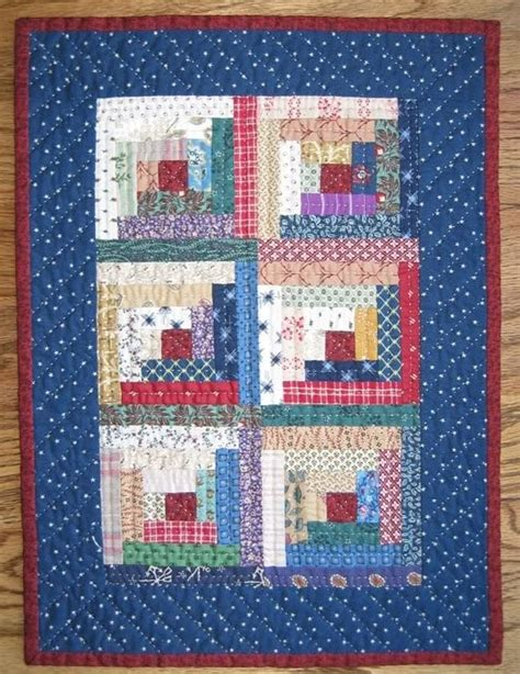 Small Quilt by Log Cabin Miniature Quilt Small Quilts