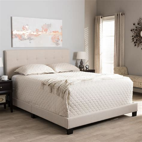 upholstered full size bed baxton studio brookfield contemporary beige fabric