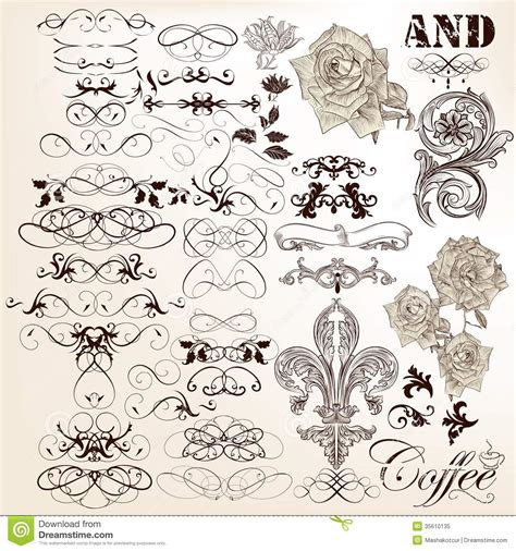 calligraphic vintage design elements vector collection free collection of vector vintage calligraphic elements and