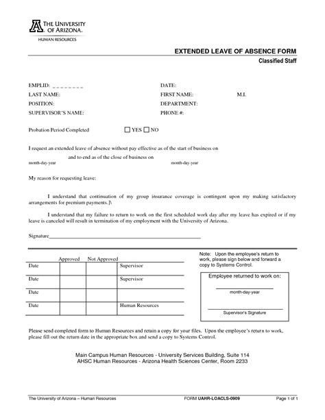 leave of absence request form template best photos of absence request form template leave of