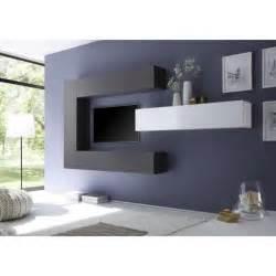 ensemble meuble tv mural design gris et blanc ubi achat