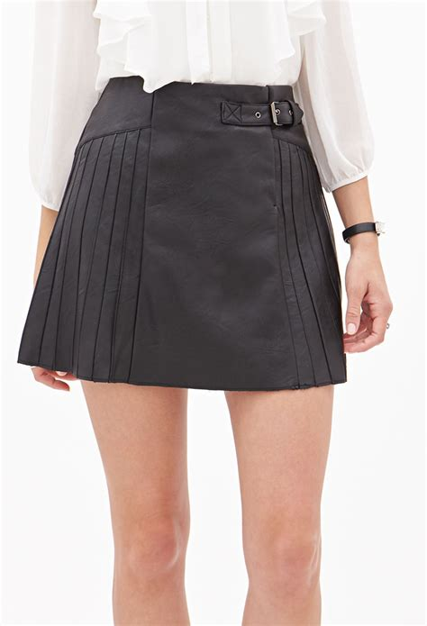 black leather pleated skirt forever 21 faux leather pleated skirt in black lyst
