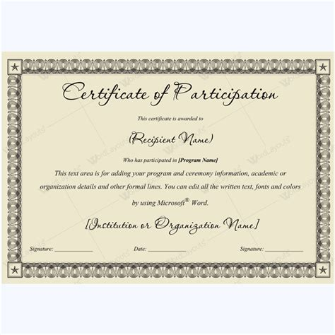certificate of participation template word 89 award certificates for business and school events