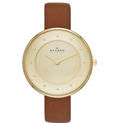 skagen klassik brown and gold leather skw2138