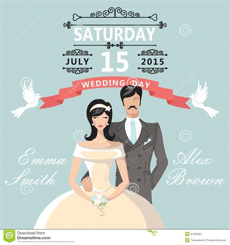 Cute Cartoon Bride Groom.Wedding Invitation Stock Vector
