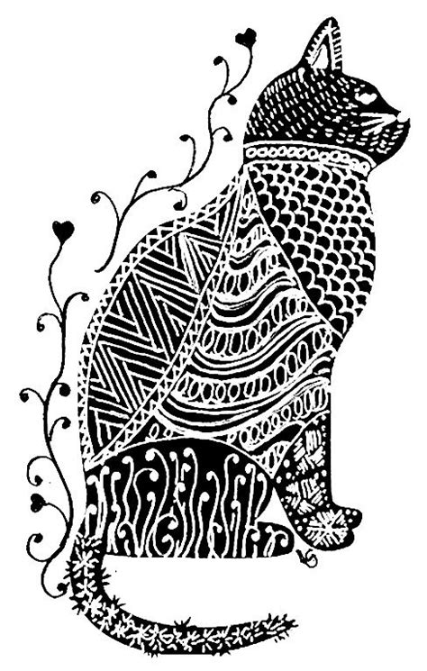 cat zentangle coloring page my zen cat zentangle doodles zendalas pinterest
