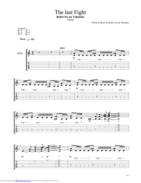 bullet for my tabs the last fight guitar pro tab by bullet for my