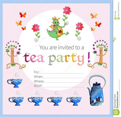 tea card template customize tea invitation for stock vector illustration