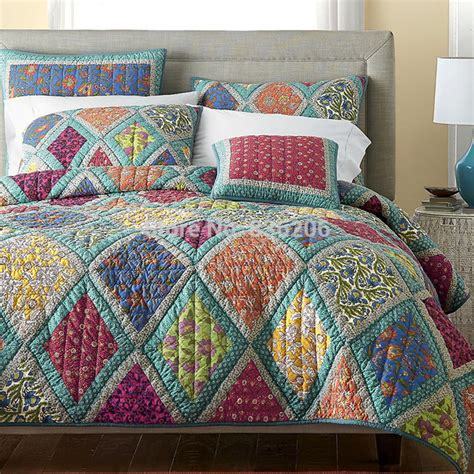 Quilt Bedding Sets by American Style 100 Cotton Quilted Handsewn Bedspreads Patchwork Quilt Shape Comforter