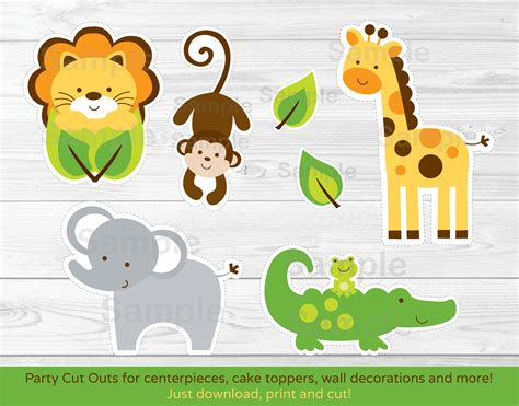 printable paper animals jungle safari animal cut outs centerpiece wall decor